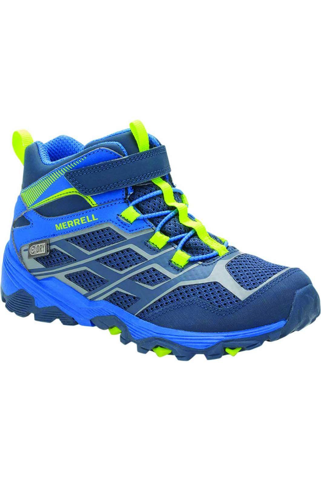 Merrell Kids' Moab FST Mid WP Hiking Boots, NAVY/COBALT, hi-res