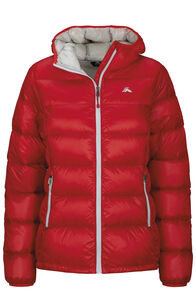 Macpac Jupiter Hooded Down Jacket — Women's, Fiery Red, hi-res