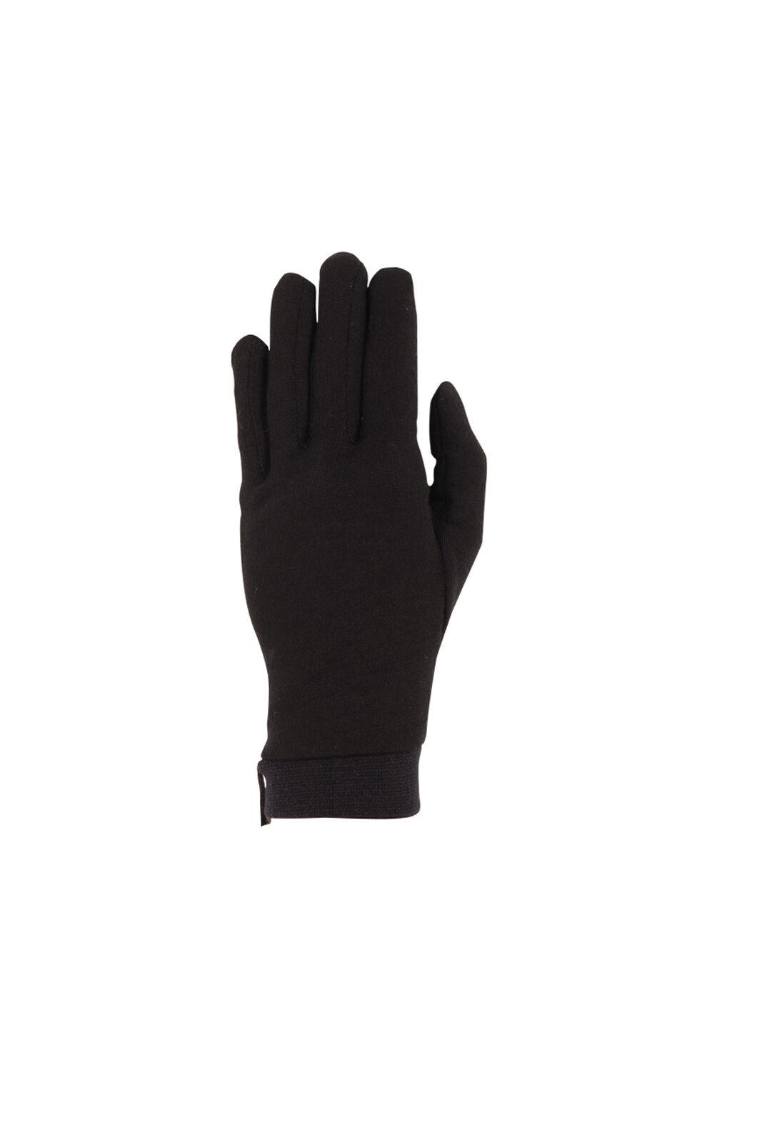 Macpac Merino Liner Gloves, Black, hi-res