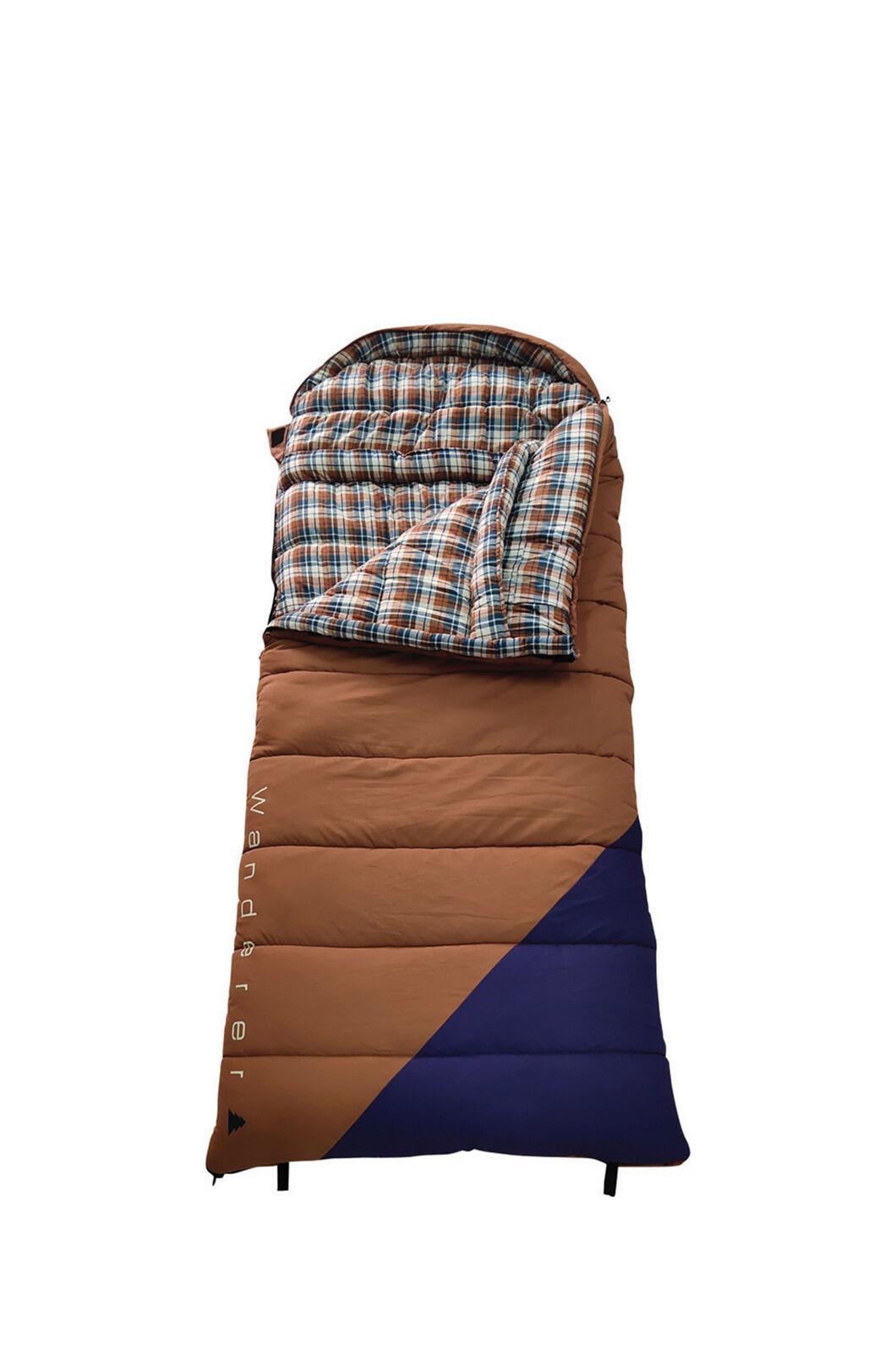 Wanderer Grand Yarra Cotton Hooded Sleeping Bag, Tan/Navy, hi-res