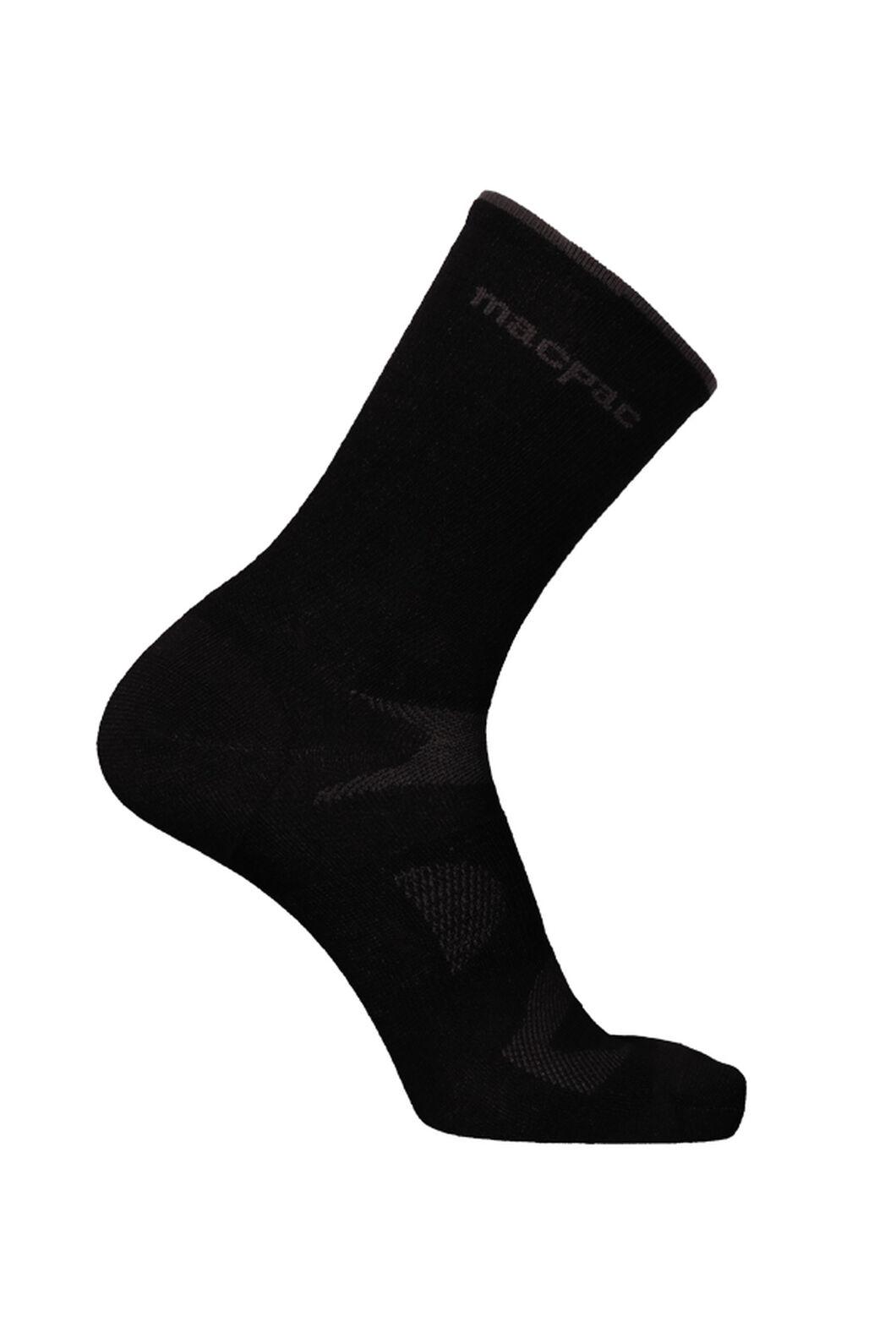 Macpac Merino Rouleur Crew Socks V2, Black, hi-res