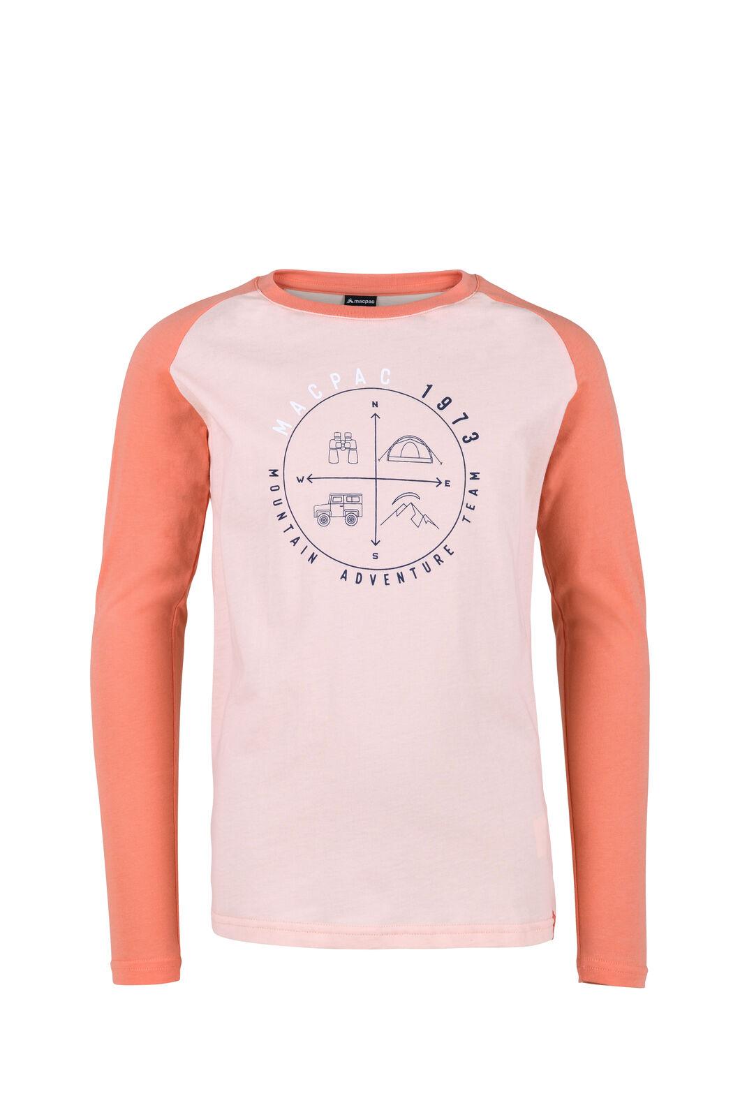 Macpac Compass Organic Long Sleeve Tee — Kids', Tropical Peach, hi-res