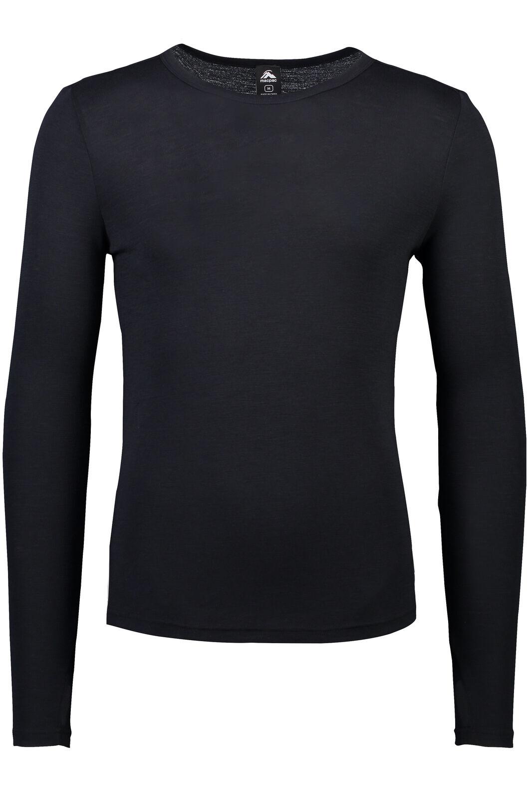 Macpac 220 Merino Long Sleeve Top - Men's, Black, hi-res