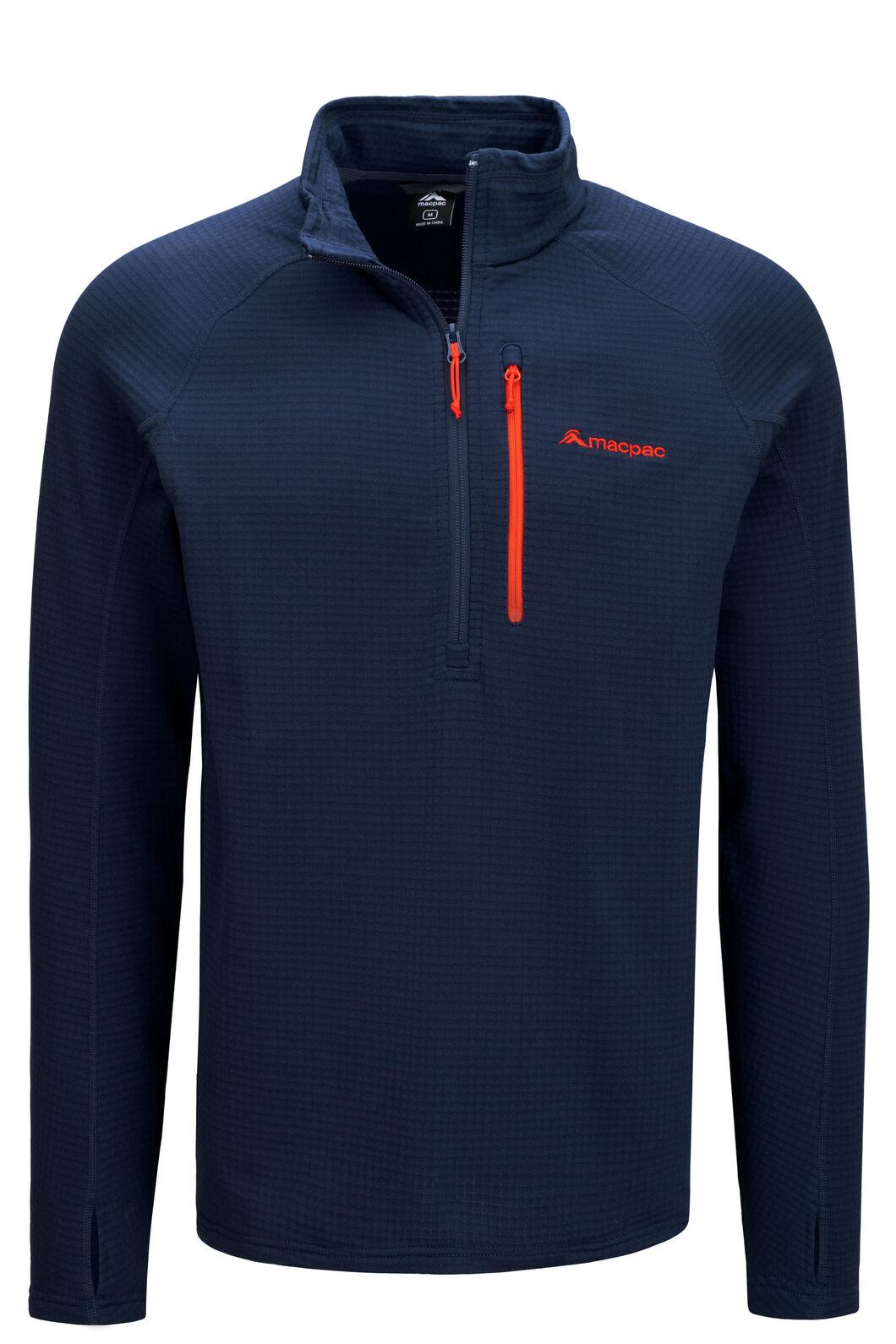 Macpac Ion Polartec® Fleece Half Zip Pullover — Men's, Black Iris/Grenadine, hi-res