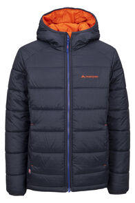 Macpac Pulsar Alpha PrimaLoft® Hooded Jacket — Kids', Black/Pureed Pumpkin, hi-res