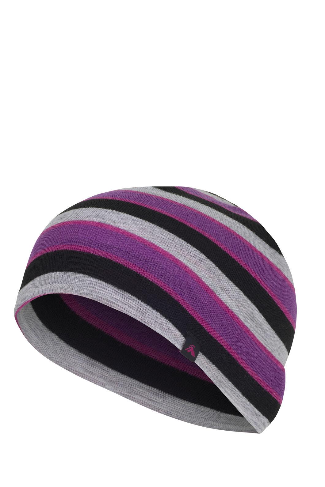 Macpac Merino 220 Beanie Kids', Purple Stripe, hi-res