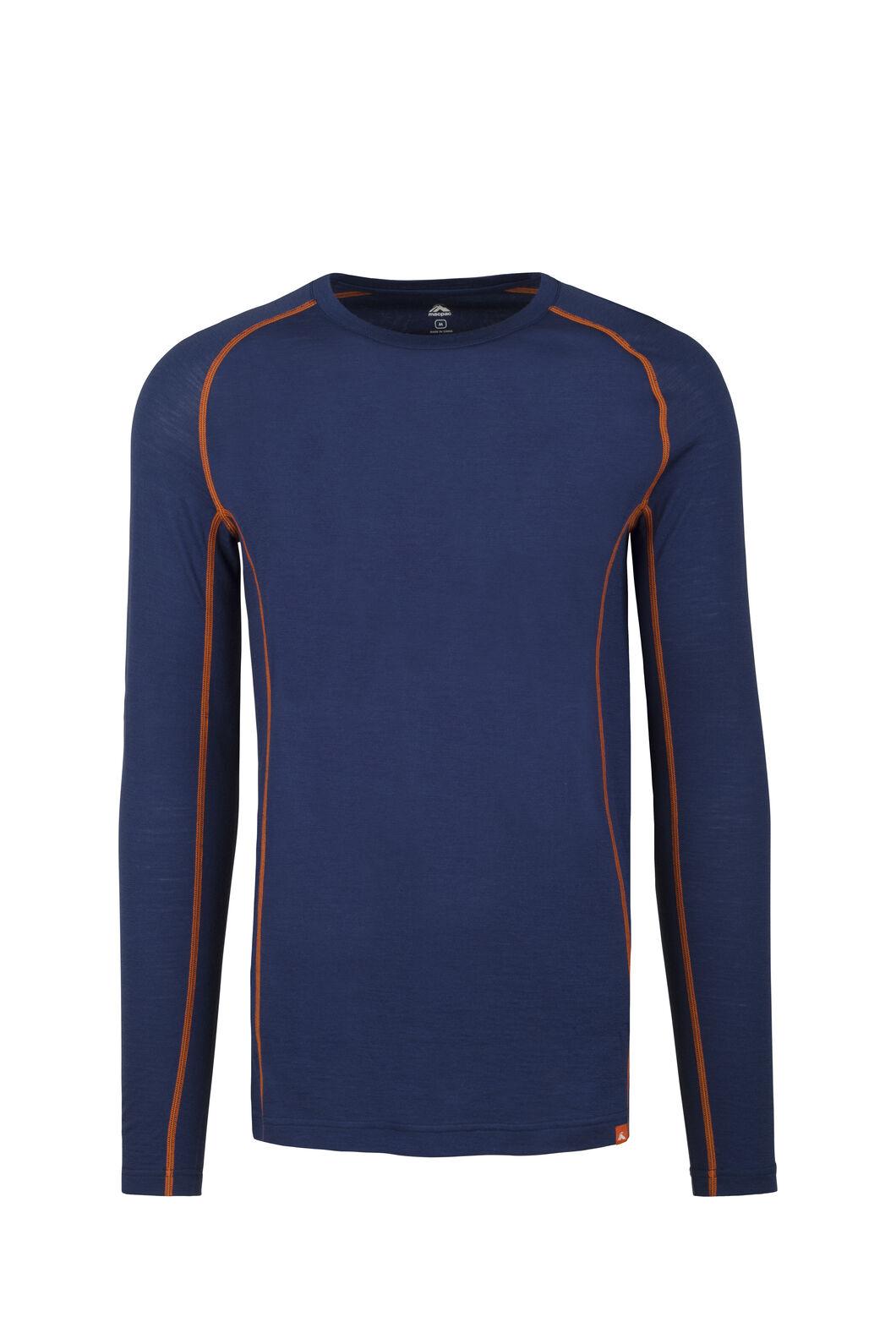 Macpac 150 Merino Long Sleeve Top - Men's, Blue Depths/Burnt Orange, hi-res