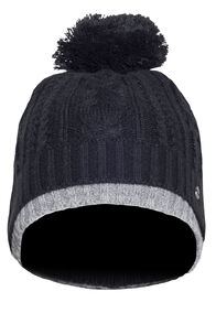 Macpac Rhythm Fleece Lined Beanie, Black/Light Grey Marle, hi-res