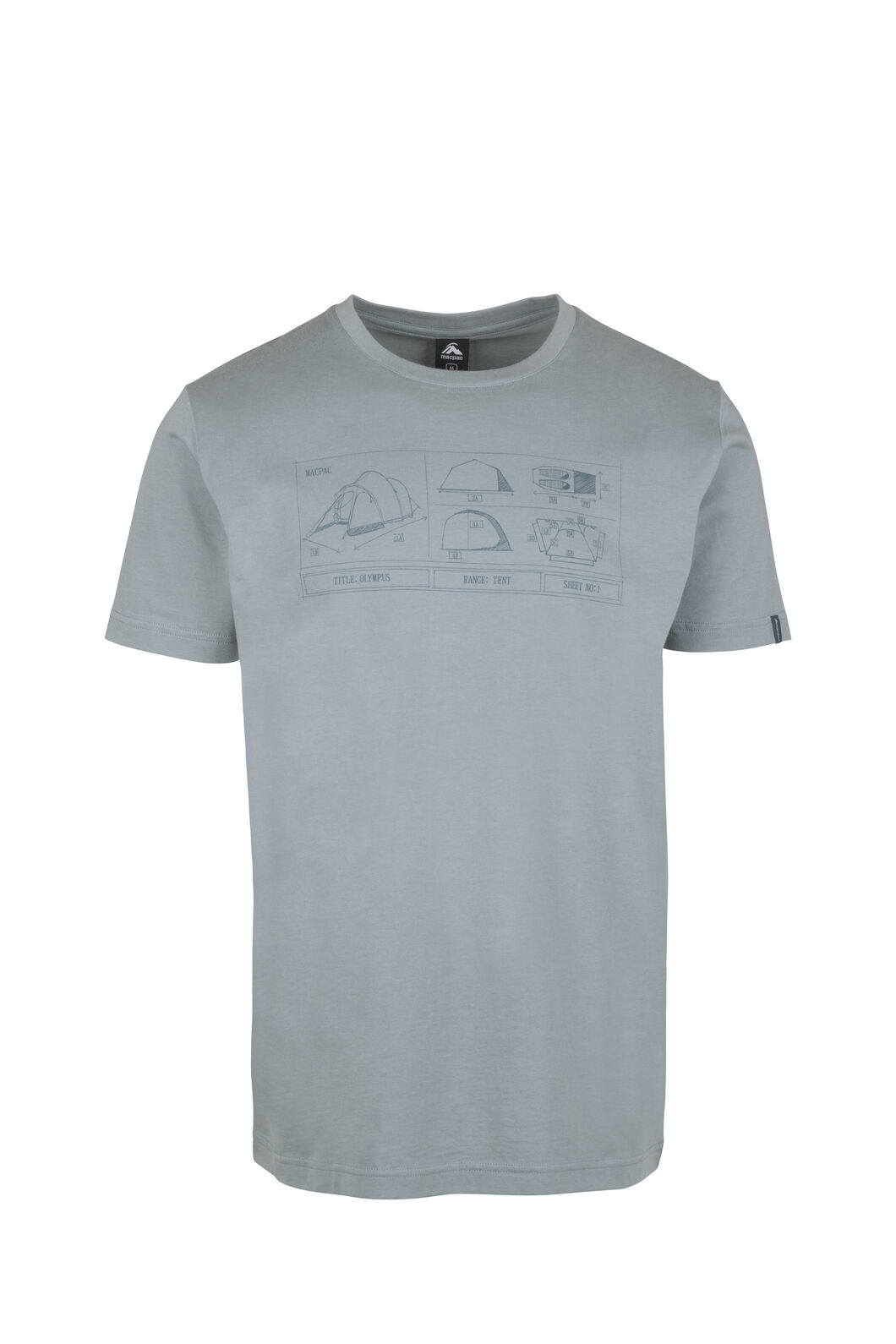 Macpac Blueprint Organic Tee - Men's, Stormy Sea, hi-res