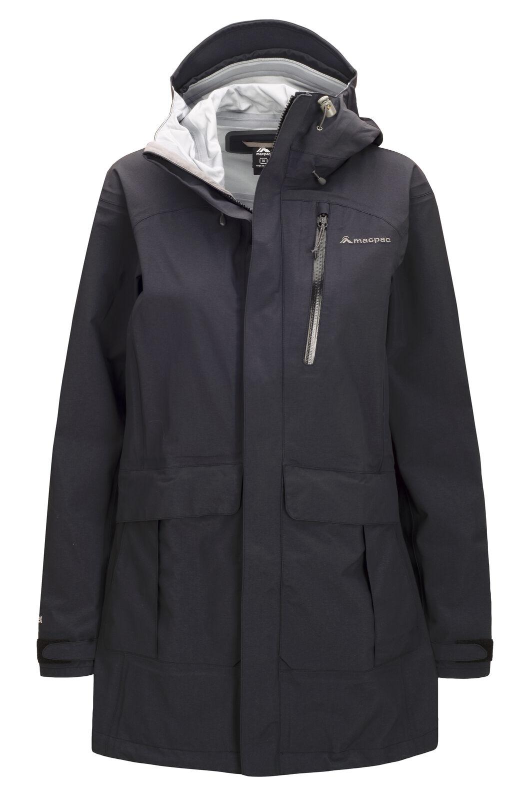 Macpac Women's Copland Long Rain Jacket, Black, hi-res