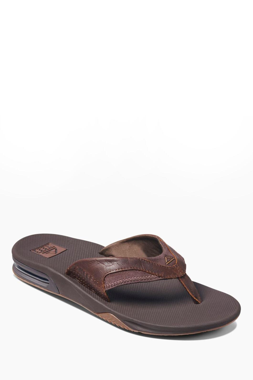 Reef Fanning Leather Sandals — Men's, Dark Brown, hi-res