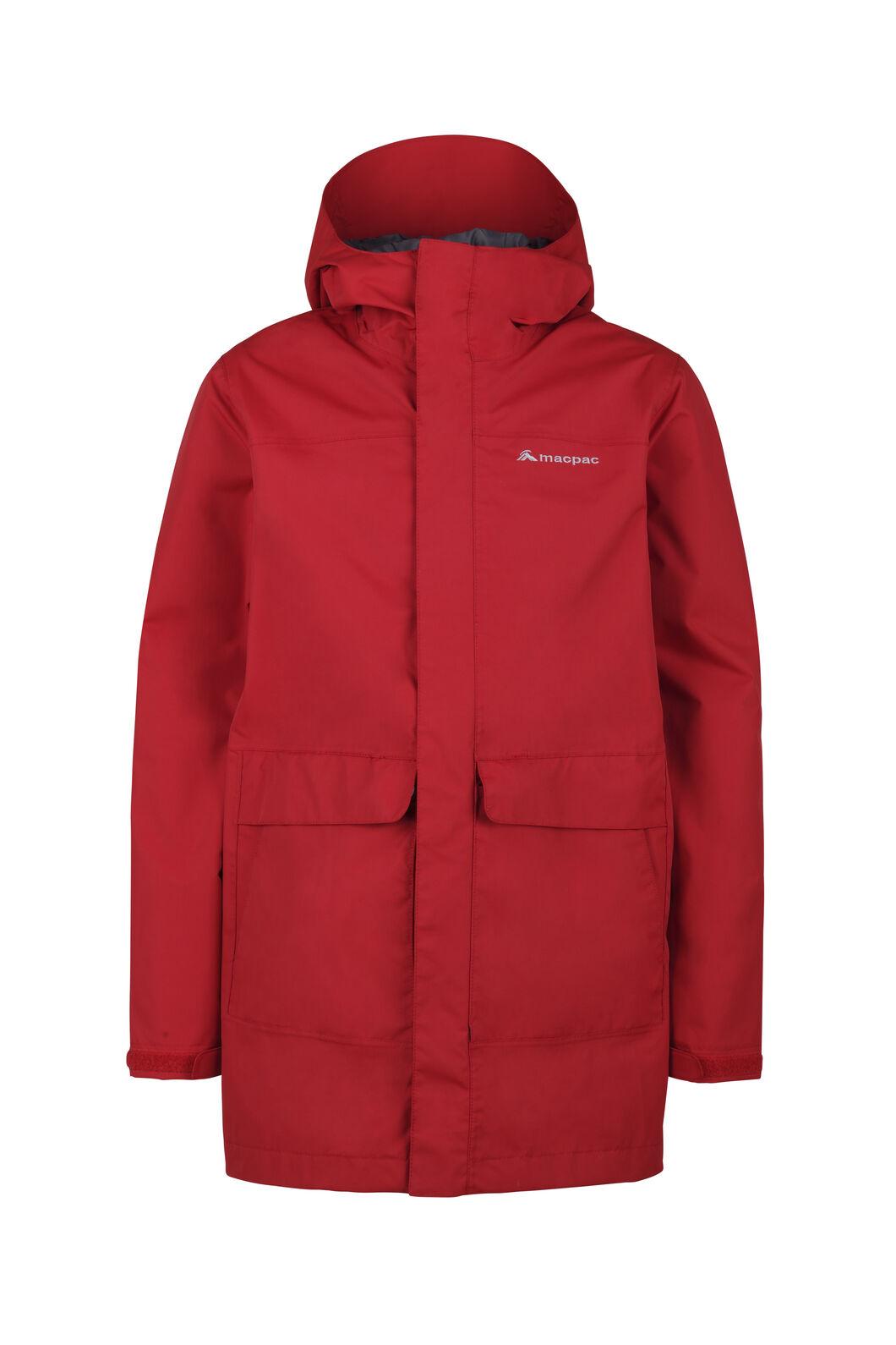 Macpac Lagoon Long Rain Jacket - Kids', Haute Red, hi-res