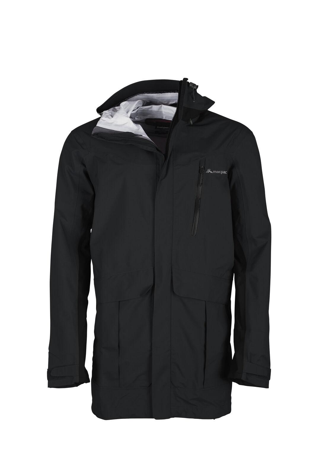 Macpac Men's Copland Long Rain Jacket, Black, hi-res