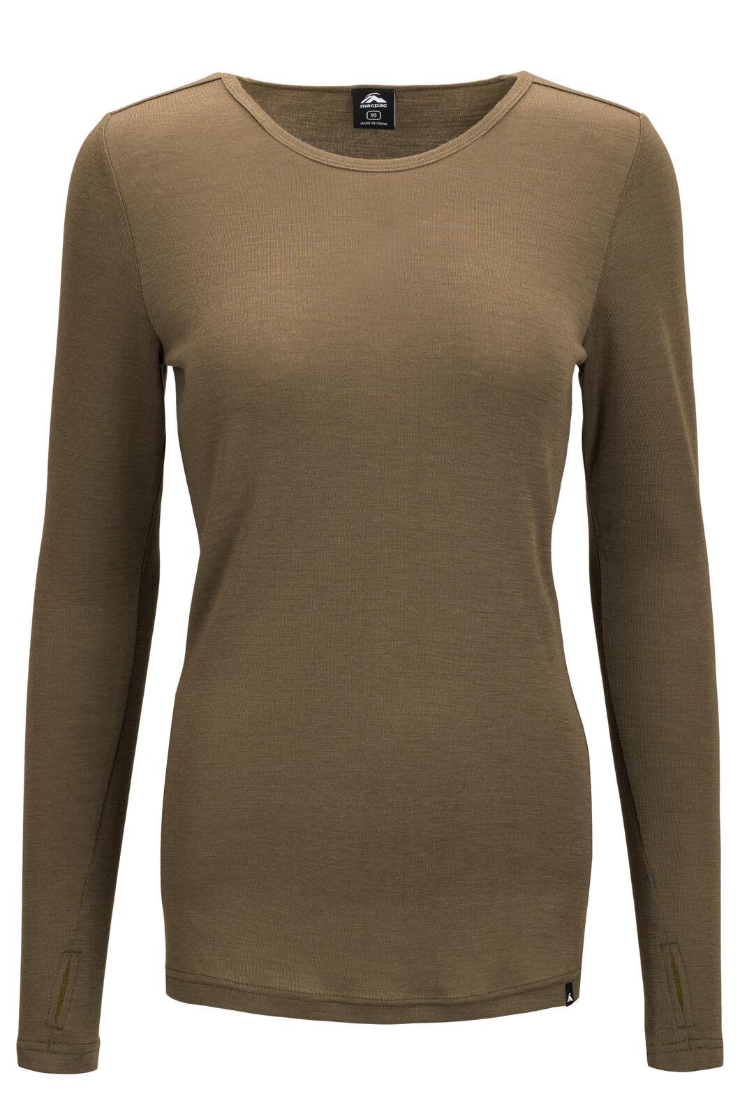Macpac Women's 220 Merino Long Sleeve Top, Burnt Olive, hi-res