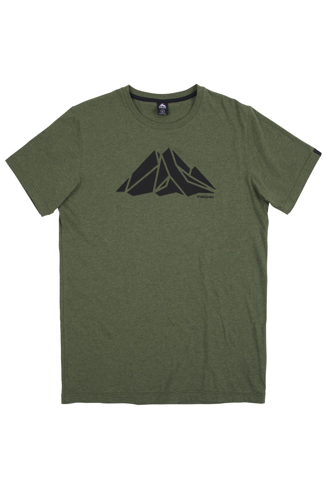 Macpac Screen Print Organic Cotton Tee - Men's, Rifle Melange, hi-res
