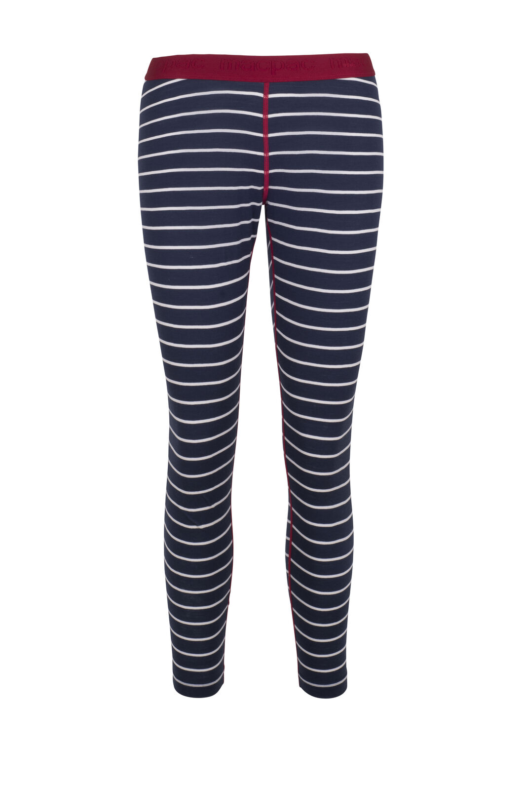 Macpac 180 Merino Long Johns - Women's, Black Iris Stripe/Jester, hi-res