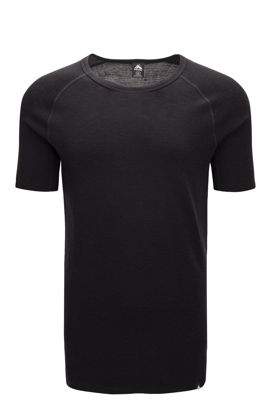 Macpac Men's 220 Merino Short Sleeve Top, Black, hi-res