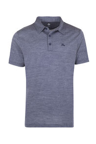 Macpac Merino Blend Short Sleeve Polo — Men's, Black Iris Stripe, hi-res