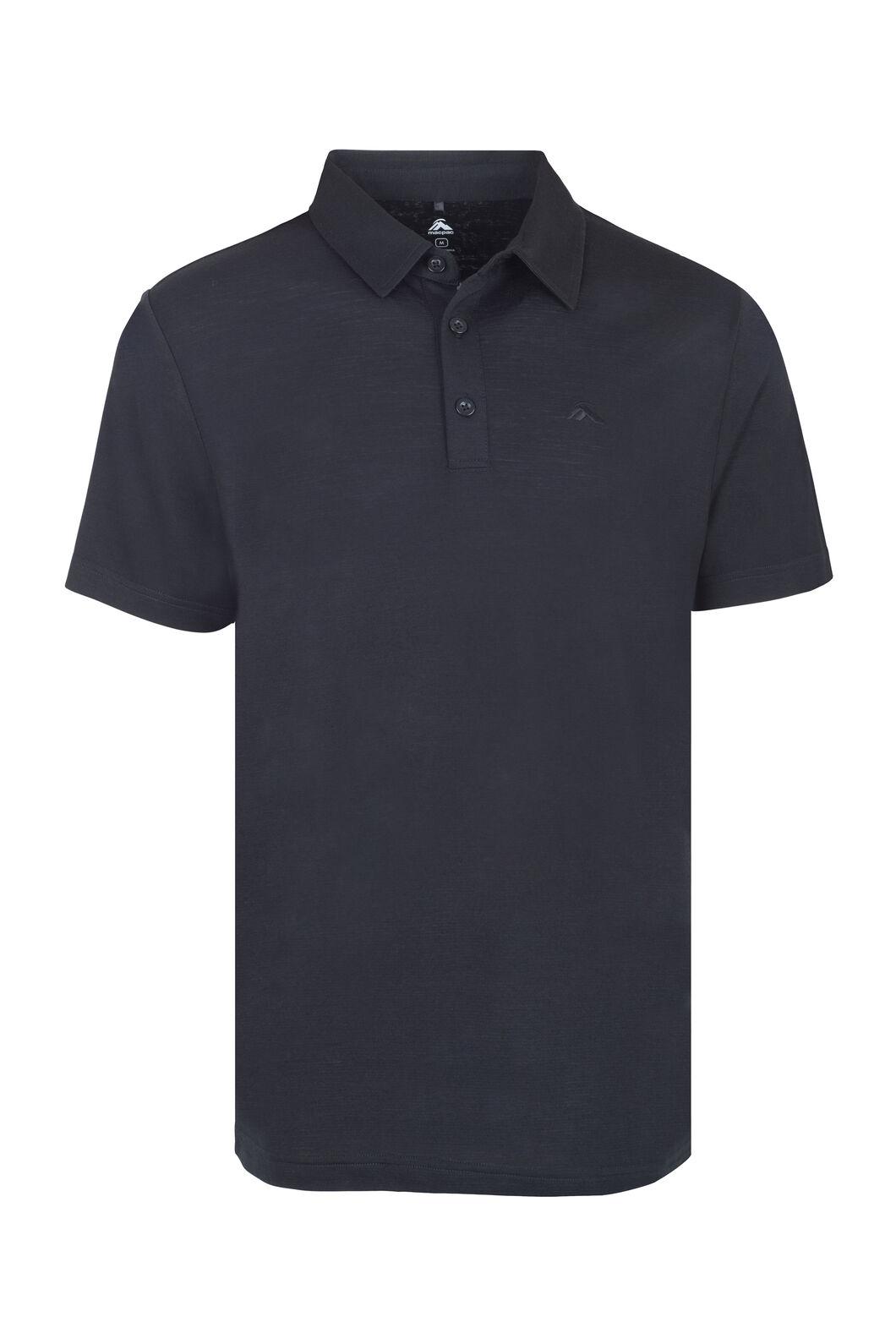 Macpac Merino Blend Short Sleeve Polo - Men's, Black, hi-res