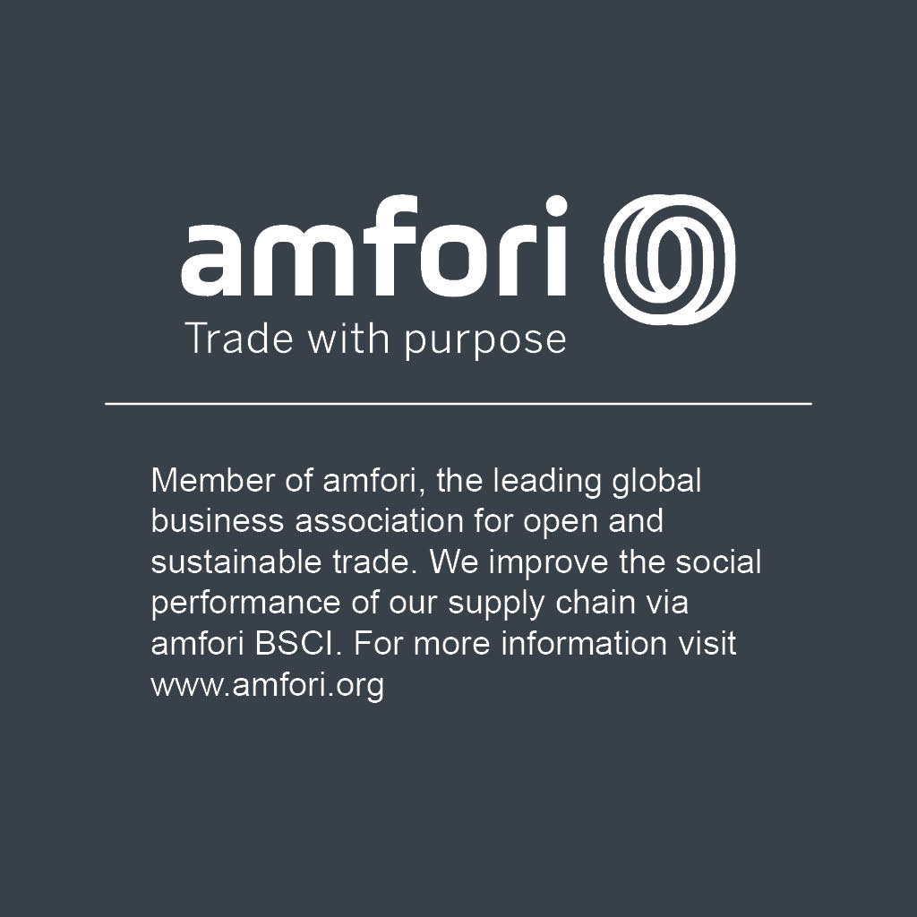 amfori logo, reading: Trade with purpose, Member of amfori, the leading global business association for open and sustainable trade. We improve the social performance of our supply chain via amfori BSCI. For more information visit www.amfori.org