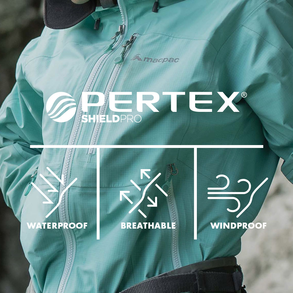 Icons showing Windproof, flexible, Responsible Down Standard - Macpac Lightweight Prophet Pertex Rain Coat